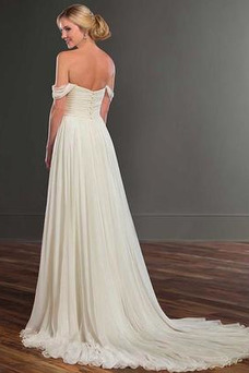 Vestido de novia Apertura Frontal Escote con Hombros caídos Natural