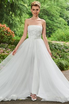 Vestido de novia Triángulo Invertido Otoño Sin tirantes Corte-A tul