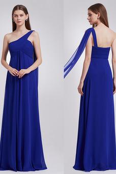 Vestido de noche Gasa Dobladillos Blusa plisada Imperio Cintura Sencillo