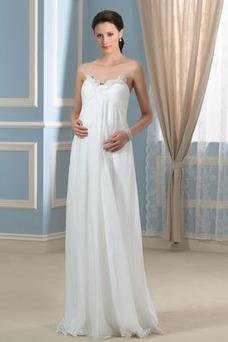 Vestido de novia Imperio Sencillo Gasa Otoño Cola Barriba Plisado