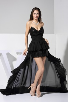 Vestido de fiesta Asimétrico Dobladillo Escote Corazón Natural Moderno