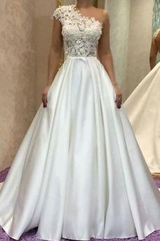 Vestido de novia Capa de encaje Iglesia Un sólo hombro Formal Sin mangas