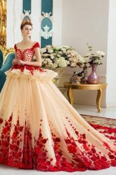 Vestido de novia Organza Recatada Barco Flores Manga tapada Corte-A