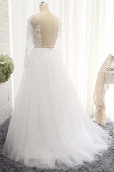 Vestido de novia Sencillo Arco Acentuado Capa de encaje Corte-A Cola Barriba