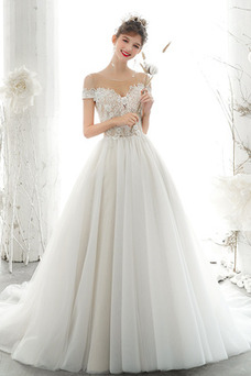 Vestido de novia Falta Cordón Abalorio Manga tapada Natural Manga corta