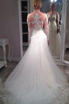 Vestido de novia Transparente Mangas Illusion Falta Corte-A Encaje Escote en V