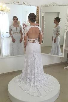 Vestido de novia Elegante Queen Anne Mangas Illusion Verano Encaje Natural