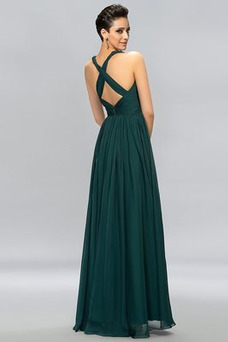 Vestido de noche Escote en V Sin mangas Pera Corte-A Blusa plisada Moderno