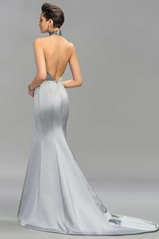 Vestido de noche sexy Escote con cuello Alto Satén Elástico largo Dobladillos