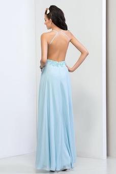 Vestido de fiesta primavera Dobladillos Natural Gasa Espalda Descubierta