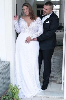 Vestido de novia Playa Encaje Natural largo Escote en V Baja escote en V