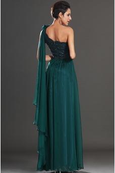 Vestido de noche Elegante Encaje Un sólo hombro Rosetón Acentuado Espalda medio descubierto