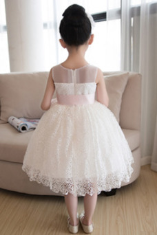 Vestido niña ceremonia Verano Fajas Encaje Natural Sin mangas Corte-A