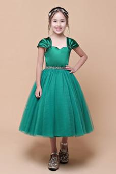 Vestido niña ceremonia primavera Cremallera Natural Drapeado tul Corte-A