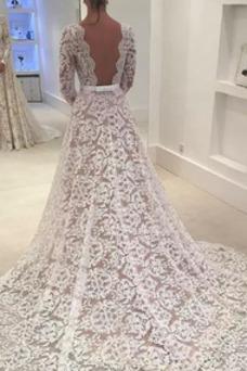 Vestido de novia Triángulo Invertido Cola Barriba Natural Barco Formal