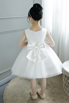 Vestido niña ceremonia Corte-A Abalorio Arco Acentuado Cremallera Verano tul