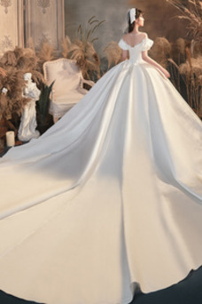 Vestido de novia Satén Natural Cordón Sala Corte-A Otoño