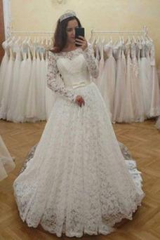 Vestido de novia Manga larga Drapeado Cola Corte Mangas Illusion Arco Acentuado