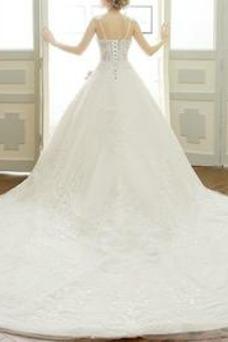 Vestido de novia Iglesia Natural Encaje Cordón Escote en V Sin mangas