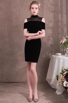 Vestido de cóctel Elegante Sin mangas Corte Recto Natural Encaje Escote con cuello Alto
