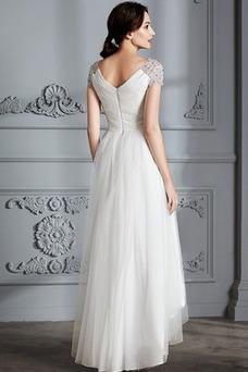 Vestido de novia Verano Manga corta Falta Asimétrico Dobladillo Plisado