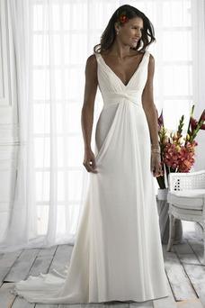 Vestido de novia Diosa vestido de novia Escote en V Plata Imperio Imperio Cintura