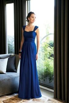 Vestido de dama de honor Tiras anchas Blusa plisada Hasta el suelo azul marino
