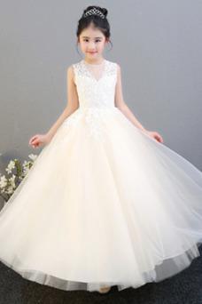 Vestido niña ceremonia tul Joya primavera Corte-A Apliques Cremallera