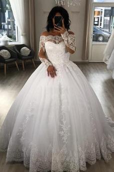 Vestido de novia Abalorio Mangas Illusion Natural Sala Capa de encaje