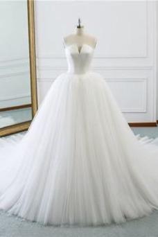 Vestido de novia Corte-A primavera Drapeado largo Cordón Sala