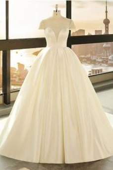 Vestido de novia Manzana Cordón Baja escote en V Elegante Natural Manga corta