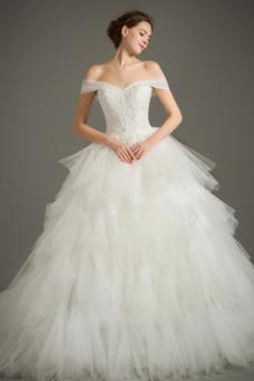 Vestido de novia Hasta el suelo Natural tul Invierno Corte-A Cremallera