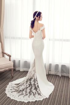 Vestido de novia Natural largo Apliques Gasa Corte Recto Elegante