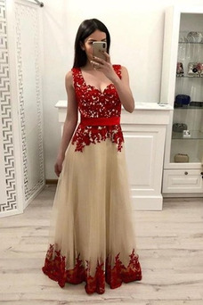 Vestido de fiesta Tiras anchas Corte-A Triángulo Invertido Elegante Capa de encaje