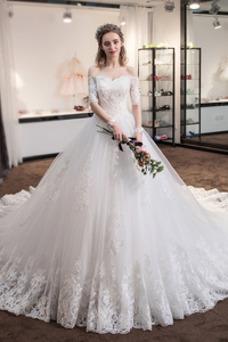 Vestido de novia Cola Real Triángulo Invertido Cordón Capa de encaje