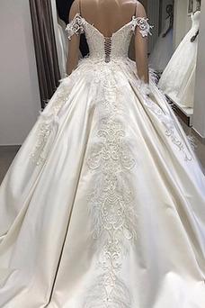 Vestido de novia Sin mangas Escote con Hombros caídos Cola Corte Natural