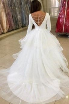 Vestido de novia Escote en V Fuera de casa Cola Capilla Glamouroso Capa Multi
