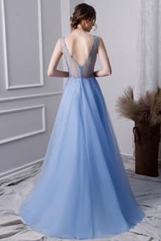 Vestido de fiesta primavera Escote en V Espalda Descubierta Triángulo Invertido