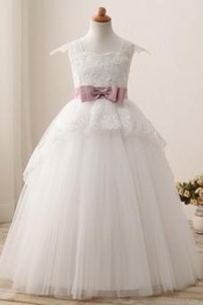 Vestido niña ceremonia Lazos Cremallera Escote Cuadrado tul Natural Corte-A
