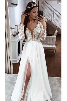Vestido de novia Encaje Cremallera Fuera de casa Corte-A Hasta el suelo