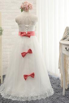 Vestido niña ceremonia Encaje Natural Apliques Cordón Elegante Arco Acentuado
