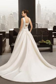 Vestido de novia Satén Falta Apliques Espalda medio descubierto Natural