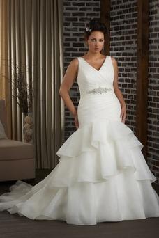Vestido de novia Corte Sirena Organza Espalda medio descubierto Cola Capilla