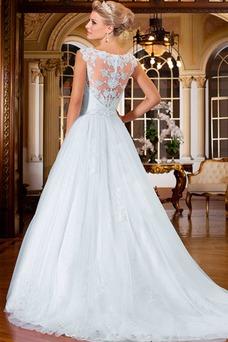 Vestido de novia vendimia Cola Capilla Alto cubierto Barco Natural tul