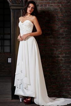 Vestido de novia Elegante Cordón Escote Corazón Gasa Plisado Natural