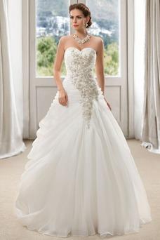 Vestido de novia Sin mangas Abalorio Iglesia Formal Escote Corazón Organza