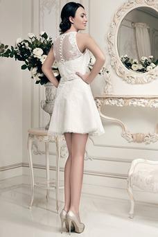 Vestido de novia Corto Joya Alto cubierto Fuera de casa tul Apliques