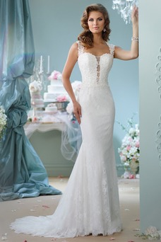 Vestido de novia Sin mangas Cremallera Moderno Apliques Encaje Tiras anchas