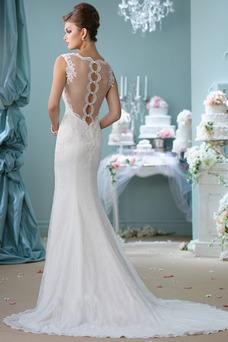 Vestido de novia Elegante Corte Sirena Verano Fuera de casa Natural