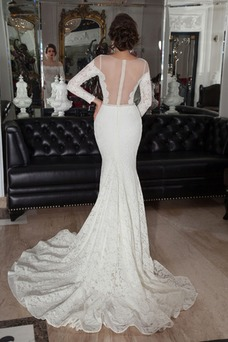 Vestido de novia Clasicos Sala Corte Sirena Natural Cremallera Manga larga